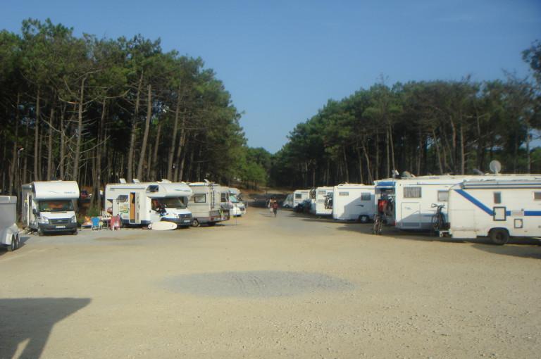 Wohnmobil Stellplatz mit Wohnmobilen auf Sand vor Pinien in Contis Plage Frankreich