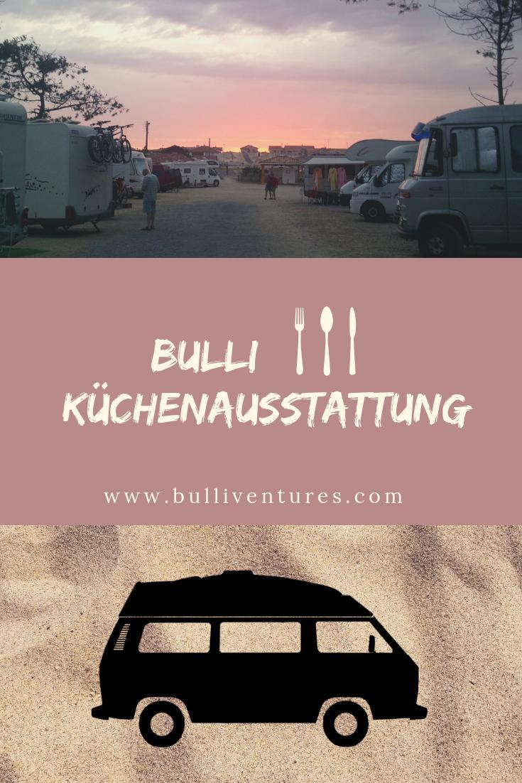 VW T3 vor Sand, Camping Stellplatz in Contis Plage, Küchenausstattung