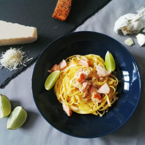 Lachs-Pasta mit Limette