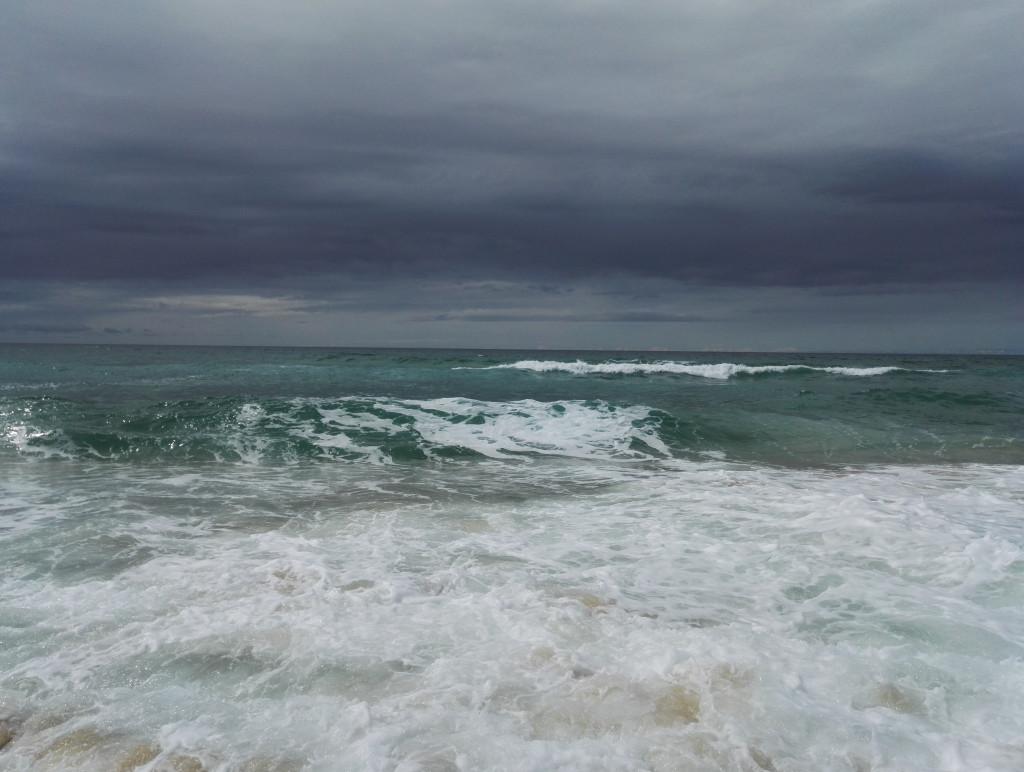 Regen Meer Sturm Strand Graue Wolken