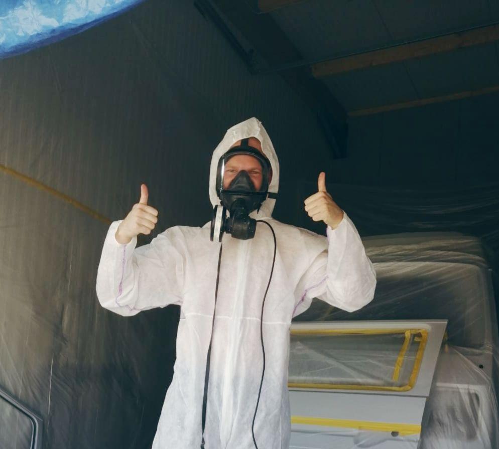Bulli lackieren Sicherheits Ausrüstung Overall Maske